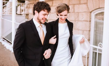 Newly Married Couple Walking Arm-in-Arm | Jaime Lauren Photography