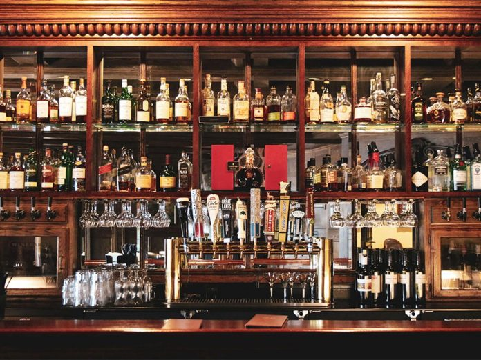 jimmy's pub dark wood bar