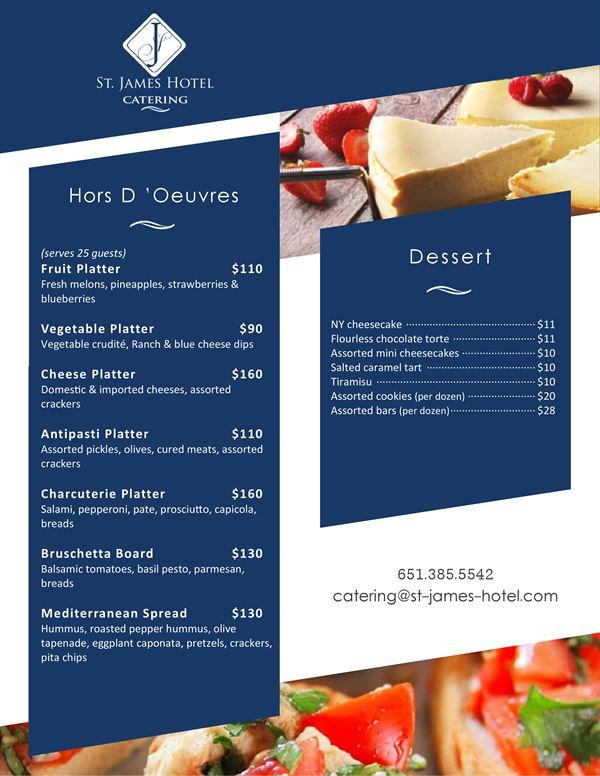 st.james catring menu
